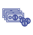 blue silhouette with money bills and coins set vector image