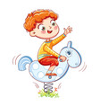 boy riding on the spring rocking-horse vector image vector image