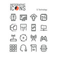 bundle of modern thin line technology icons vector image vector image