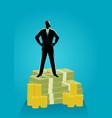 businessman standing on money vector image vector image