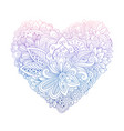 colorful floral doodle heart shape on white vector image vector image