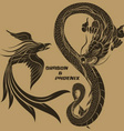 dragon and phoenix drawing vector image vector image