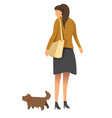 female in casual clothes and high heels walking vector image