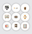 flat icon oneday set of whiteboard cappuccino vector image vector image