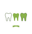 flat tooth icon - cartoon outline style vector image vector image
