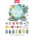Floral Bundle Icon Set vector image