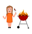 girl eating a sausage barbecue image vector image