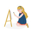 girl painting picture on easel hobby education vector image vector image