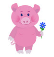 hand drawn pig natural colors vector image vector image