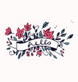 hello lettering with ribbon and hand drawn spring vector image vector image