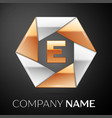 letter e logo symbol in the colorful hexagon on vector image