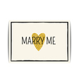 Love template with gold glitter heart and Marry me vector image vector image