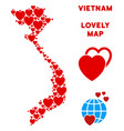 lovely vietnam map mosaic of hearts vector image