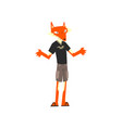 man with fox head animal character wearing modern
