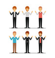 men set in formal clothes colorful silhouette vector image