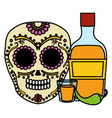 mexican skull death mask with tequila bottle vector image