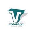 modern letters tv or vt logo vector image vector image