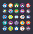 pack of creative flat icons of buildings vector image vector image