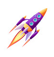 rocket launch and fire flame spaceship startup vector image vector image
