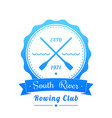 rowing club logo emblem sign on white vector image vector image