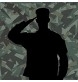 Saluting soldier on green army background