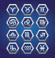set of cosmic icons with signs of zodiac vector image