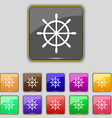 ship steering wheel icon sign Set with eleven vector image