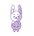 silhouette cute rabbit wild animal with face vector image vector image
