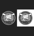 viking drakkar ship vintage round label vector image vector image