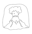 Volcano eruption icon in outline style isolated on vector image vector image
