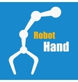 White robot hand on blue vector image vector image