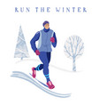 young man jogging in park winter running banner vector image