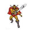 cartoon Viking super hero with sword vector image