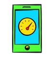 smartphone with clock icon icon cartoon vector image