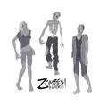 Three zombie characters walking forward vector image