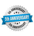 5th anniversary round isolated silver badge vector image vector image