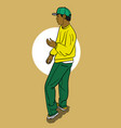 a guy in a yellow t-shirt and blue pants dancing vector image