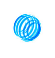 abstract blue circle shape logo concept global vector image