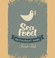 banner for seafood restaurant with a seagull vector image vector image