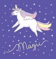 beautiful unicorn on night sky background vector image vector image