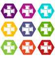 black pipe fitting icon set color hexahedron vector image vector image