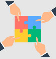 business hands putting puzzle pieces together vector image vector image