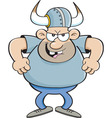 Cartoon angry man wearing a viking helmet vector image vector image