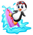 cartoon penguin surfing on water vector image