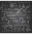 Chemical formulas and drawings on a chalkboard vector image vector image