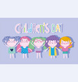 children day cartoon group girls and funny vector image vector image