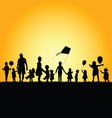 children silhouette in nature vector image vector image