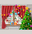 cozy interior room with christmas tree vector image vector image