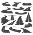 curved roads icon flat style set vector image vector image