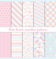 cute abstract hearts shape seamless patterns